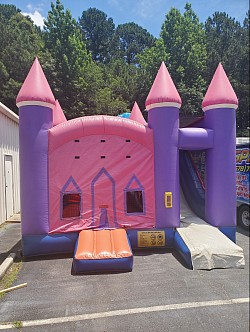 Pink N Purple Princess Combo (15x15 bounce area, 15 ft dry slide, and basketball hoop inside)